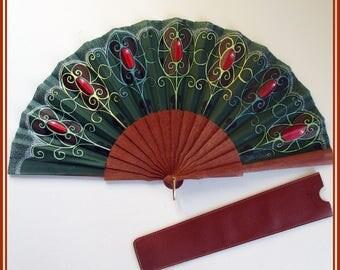 Wedding hand fan, spanish green hand fan, gift for her, folding hand fan, designer hand fan, original wood hand fan, exclusive hand fan,gift
