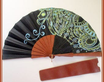Black fan, butterfly hand painted fan, spanish hand fan, fan for wedding, bridesmaid fan, folding wood hand fan, hand fan with free caser.