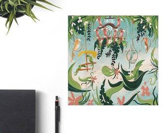 Enchanted Tiki Room Disney Art Print, Retro Disney Parks, Brandi Monard Art, Disney Lover Gift, Tiki Art Gift, Tiki Home Decor, Tiki Party