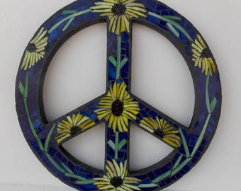 Stained Glass Mosaic Wall Art - Black-eyed Susan Peace