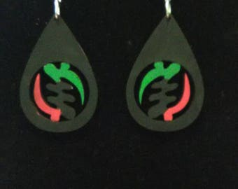Adinkra Drops of Love, Wooden earrings, The Symbol of Power, Handpainted