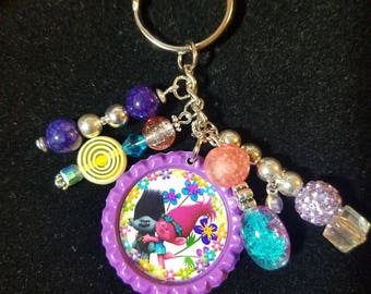 Trolls Poppy branch beaded keychain