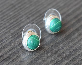 Malachite stud earring | Ethnic silver vermeil earring | Birthday gift jewelry | Round stone earring | Green cabochon stone jewelry | SE5