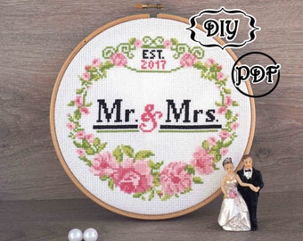 Custom Wedding cross stitch pattern PDF Bridal Shower gift Wedding gift for couple Personalized Wedding Anniversary gift Hoop art