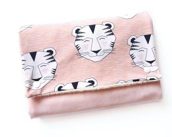 Mat changing mat Nomad organic 100% cotton and powder pink Oekotex Tigers