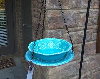 Turquoise Blue Bird Feeder / Butterfly Feeder / Bird Bath