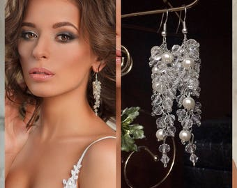 Crystal earrings Silver bridal errings White crystals earrings Wedding jewelry art deco vintage boho earrings beads23