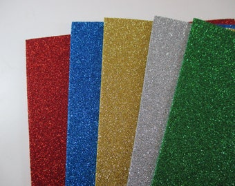 5 shiny glitter, 5 different colors, 20 x 30 foam sheets.