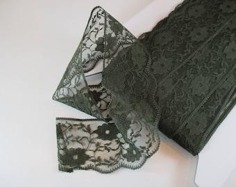 Lace Soft nylon, Khaki, width 5.5 cm.