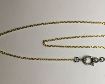 Gold filled chain and dianond clasp necklace