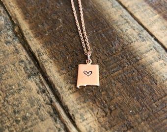 New Mexico Charm Necklace, New Mexico State Shape, NM Necklace, I heart New Mexico, Rose Gold