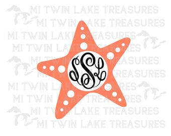 Starfish Monogram SVG, PNG, Studio.3, Instant & Digital Download, For Silhouette and Cricut, Home, DIY, Personal and Commercial Use