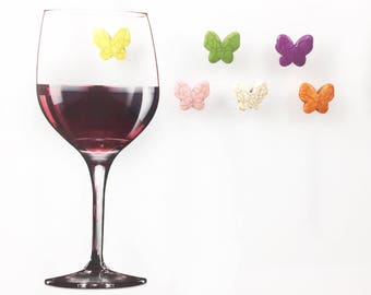 6 Butterfly Magnetic Wine Glass Charms, Summer Wine Charms, Stemless Wine Charms, Butterfly Gift, Relax Gift, Wine Lover, Wine Accessories