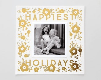 Floral Happiest Holidays Gold Foil Stamped Photo Card