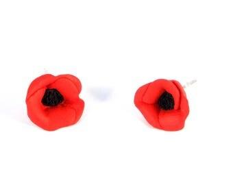 Poppy Stud Earrings Red Black Silver