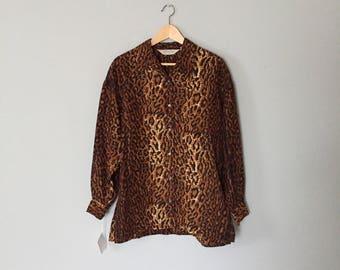 leopard print silk oversized blouse / 1980s Express silk blouse / auburn brown leopard blouse