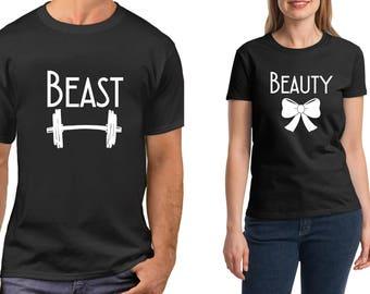 Beast & Beauty, Couple Shirts, Funny Matching T-Shirts, Valentine's Day, LOVE, Anniversary Tees, Soul Mate SET Shirt