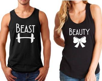 Tank Top - Beast & Beauty, Couple Shirts, Funny Matching T-Shirts, Valentine's Day, LOVE, Anniversary Tees, Soul Mate SET Shirt