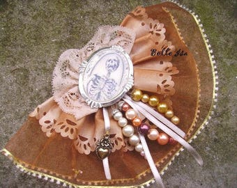 Baroque hair fascinator, lace, ribbons and cabochon