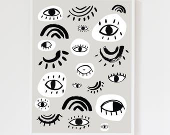 Eyes Cool Grey Children's Art Print