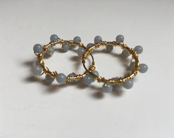 Angelite Bubble Earrings (Bead Collection)