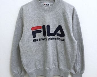 RARE!!! Fila Sport International Big Logo Embroidery SpellOut Crew Neck Grey Colour Sweatshirts Hip Hop Swag M Size
