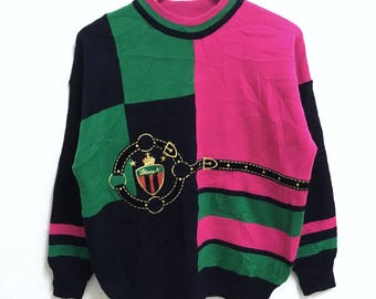 RARE!!! Retro Multicolour Crew Neck Multicolour Raglan Colour Sweatshirts Hip Hop Swag M Size