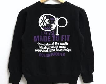 RARE!!! Ocean Pacific Big Logo Crew Neck Black Colour Sweatshirts Hip Hop Swag M (Boys) Size