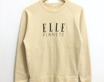 RARE!!! ELLE Planete Big Logo Crew Neck Cream Colour Sweatshirts Hip Hop Swag S Size