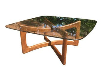 Adrian Pearsall Ribbon Square Glass Coffee Table