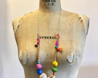Handmade wood beaded necklace
