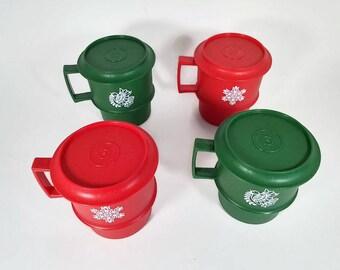 Tupperware Travel Mugs with Lids  Set of 4