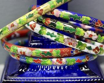 Vintage Cloisonne Floral Enamel Bangle Bracelets - Set of 6