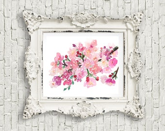 Cherry blossoms watercolor original painting, cherry blossoms floral art painting, 8x10 watercolor, watercolor flowers, pink floral art