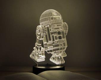R2D2 LED Lamps, Table Lamp, Gift for Him, 3D Night Light, Gift for Men, Nursery Lamp, Desk Lamp, LED Night Light, Star Wars, Gift for Kids