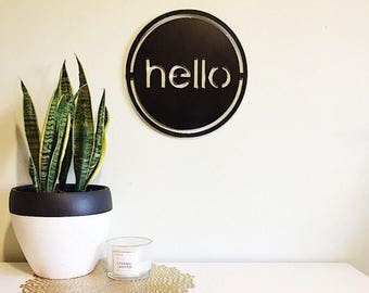 Metal hello welcome sign