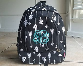 Black Arrows backpack, Monogrammed bookbag