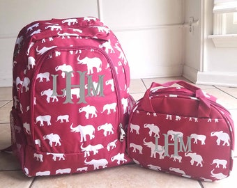 Maroon Elephants backpack and lunch bag Burgund y Elephants Backpack and Lunch bag
