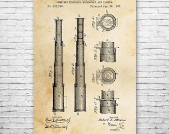 Telescope 1895 Poster Patent Art Print Gift, Telescope Poster, Telescope Art, Telescope Design, Telescope Patent, Nautical Gift, Space Gift