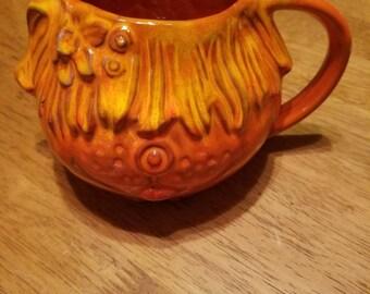 1969 orange pacific stoneware dog mug