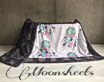 Dreamcatcher Minky Baby Blanket Boho Flower Girl Blanket Toddler Blanket Adult Blanket Twin Sized Blanket