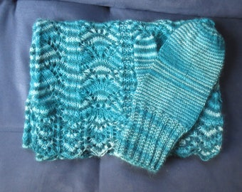 Hand-knit Luxury Scarf and Mittens Angora/Wool/Rayon/Nylon