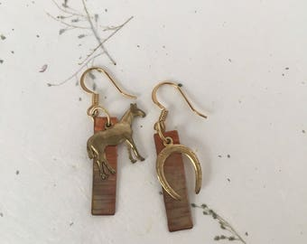 Equine Earrings, Horse Earrings, Riding Earrings, Copper Earrings, Horseshoe Earrings