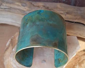 Painted jewelery, Torquise cuff bracelet, brass bracelet, holiday jewelry, blue green cuff, 21st anniversary gift