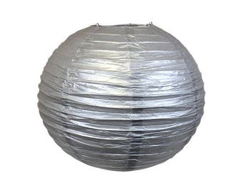 "12"" Silver Paper Lantern - Weddings, Parties, Home Decor"