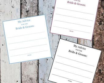 Printable Advice Cards for the Bride and Groom - SALE