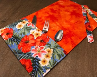 HIBISCUS / placemat roll utenciles, portable place mat, for school, for work, placemat for lunchbox!