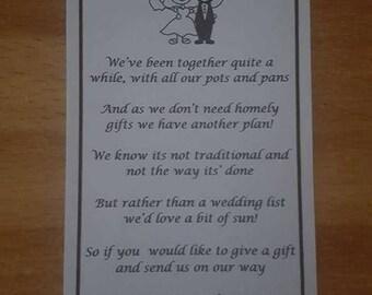 Wedding money poem Bride and Groom design