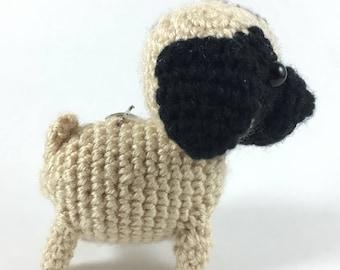 Crochet Pug Keychain