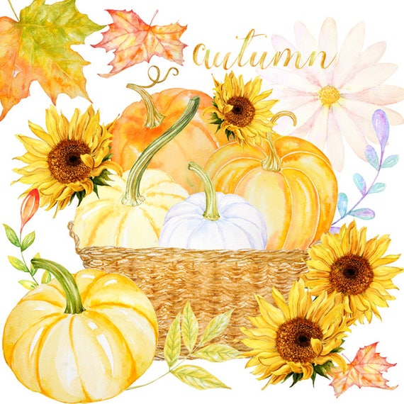 Fall Clipart Watercolor Harvest Blessings Digital Download